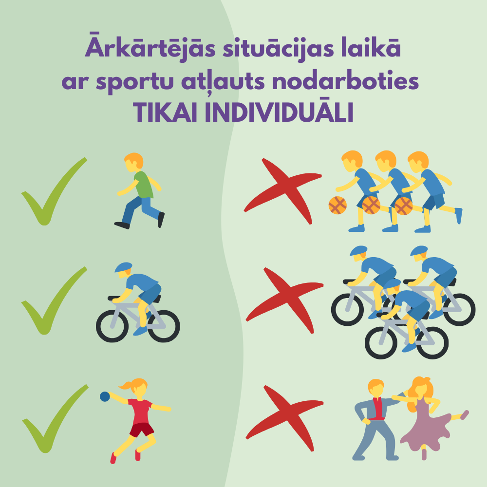Ar sportu atļauts nodarboties tikai individuāli